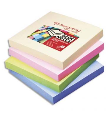 PERGAMY Bloc de 100 feuilles repositionnables, 7,6 x 7,6 cm. Coloris assortis pastel