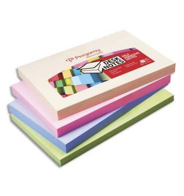 PERGAMY Bloc de 100 feuilles repositionnables, 7,6 x 12,7 cm. Coloris assortis pastel