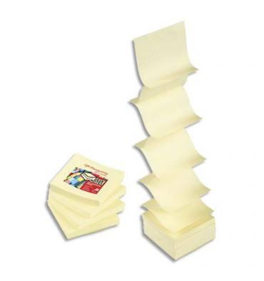 PERGAMY Bloc de 100 feuilles repostionnables accordéon, 7,6 x 7,6 cm. Coloris jaune