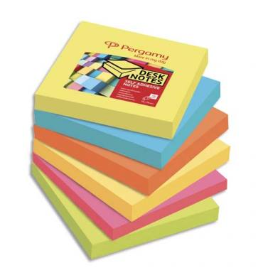 PERGAMY Lot de 6 blocs de 100 feuilles repositionnables accordéon, 7,6 x 7,6 cm. Coloris assortis