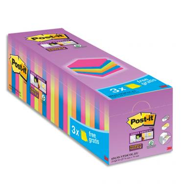 POST-IT Pack de 24 blocs Super Sticky dont 3 offerts 76 x 76 mm. Couleurs assorties
