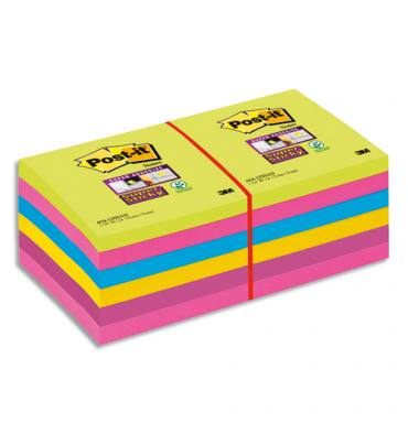 POST-IT Lot de 12 blocs Super Sticky 76 x 76 mm 90 feuilles coloris assortis