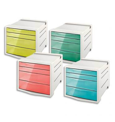 ESSELTE Bloc de classement 4 tiroirs COLOUR'ICE Assortis. 24,5 x 36,5 x 28,5 cm