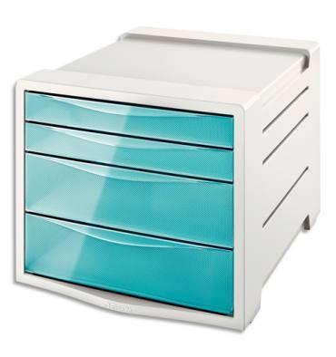 ESSELTE Bloc de classement 4 tiroirs COLOUR'ICE bleu. 24,5 x 36,5 x 28,5 cm