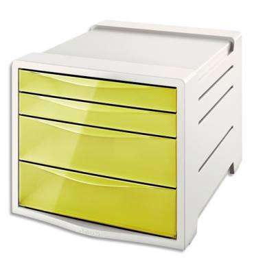 ESSELTE Bloc de classement 4 tiroirs COLOUR'ICE jaune. 24,5 x 36,5 x 28,5 cm