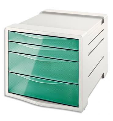 ESSELTE Bloc de classement 4 tiroirs COLOUR'ICE vert. 24,5 x 36,5 x 28,5 cm