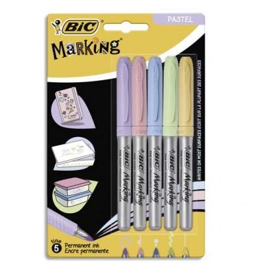 BIC Blister de 5 marking color. Assortis de couleurs pastels et intenses