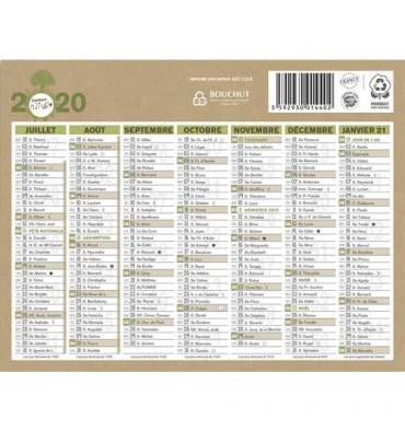 CBG Calendrier Natura en papier recyclé, 6 mois par face, format micro 13 x 17 cm