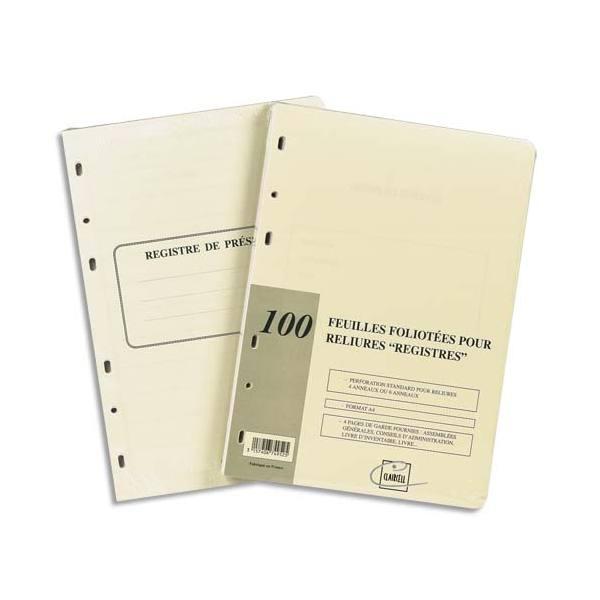 EXACOMPTA Recharge universelle 100 feuilles foliotées, perforation 6 trous