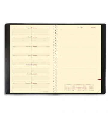 QUO VADIS Semainier Note 24S spiralé 1S/1P + 1 page notes papier ivoire, 16 x 24 cm couverture Impala noire