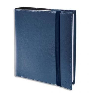 QUO VADIS Agenda Time and Life 1S/2P + répertoire, fermeture élastique - format 16 x 16 cm bleu métal