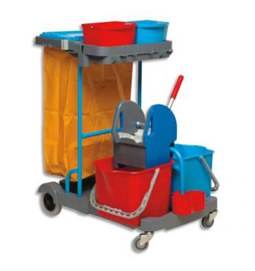BROSSERIE THOMAS Chariot d'entretien Compact Gris en PP + presse à mâchoires + 2 seaux 22L Rouge Bleu