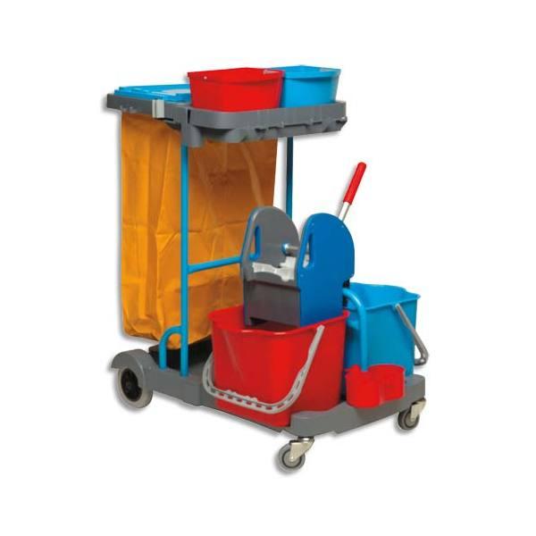 BROSSERIE THOMAS Chariot d'entretien Compact Gris en PP + presse à mâchoires + 2 seaux 22L Rouge Bleu (photo)