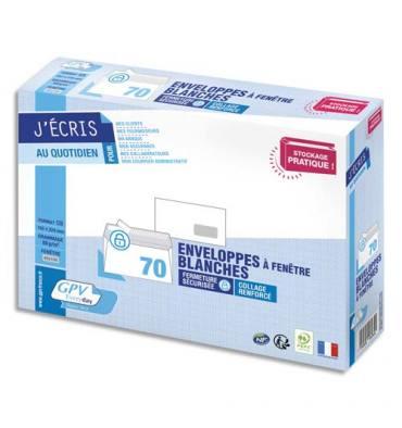 GPV Paquet de 70 enveloppes blanches auto-adhésives 80g format C5 - 162 x 229 mm, fenêtre 45 x 100 mm