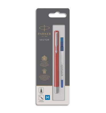 PARKER Stylo roller Vector Rouge, pointe moyenne encre bleue