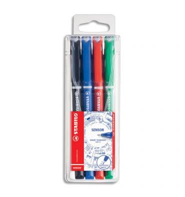 STABILO Pochette de 4 stylos feutre pointe ultra-fine baguée métal 4 couleurs assorties