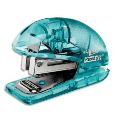 ESSELTE Agrafeuse mini Colour'ice avec ôte agrafes, agrafes 24/6, capacité 10 feuilles. Bleu translucide