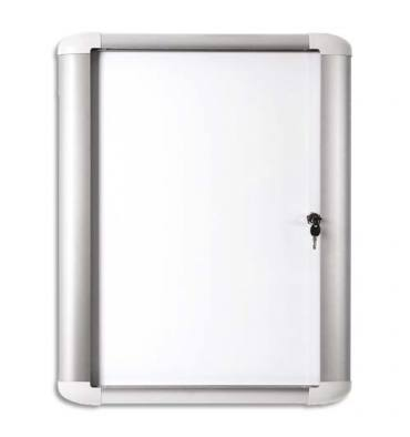 PERGAMY Vitrine d'extérieur Excellence fond magnétique laqué blanc, cadre aluminium - 4 feuilles A4