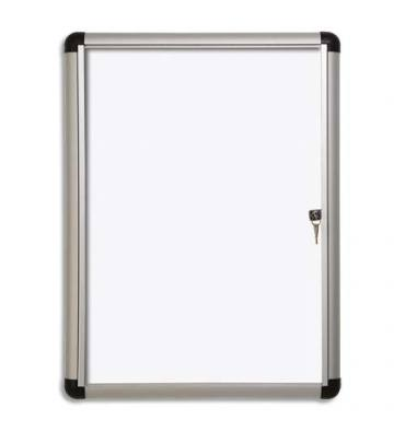 PERGAMY Vitrine d'intérieur Excellence Extra Slim fond magnétique laqué blanc, cadre alu - 4 feuilles A4