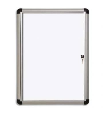 PERGAMY Vitrine d'intérieur Excellence Extra Slim fond magnétique laqué blanc, cadre alu - 6 feuilles A4