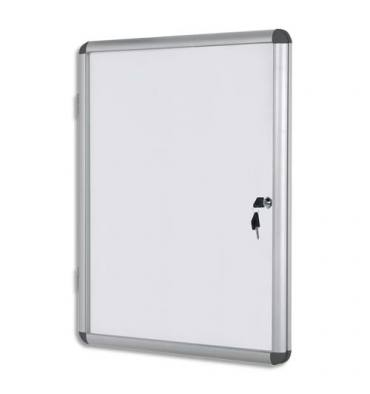 PERGAMY Vitrine d'intérieur avec fermeture à clé, fond magnétique laqué blanc, cadre alu - 9 feuilles A4