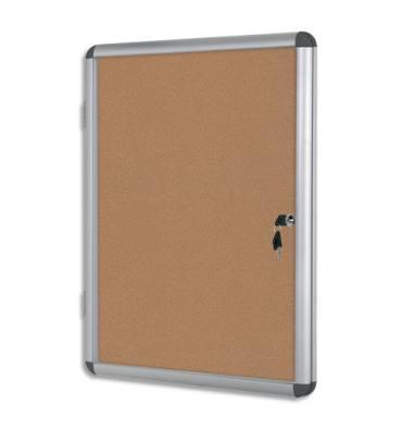 PERGAMY Vitrine d'intérieur avec fermeture à clé, fond liège, cadre aluminium - 4 feuilles A4