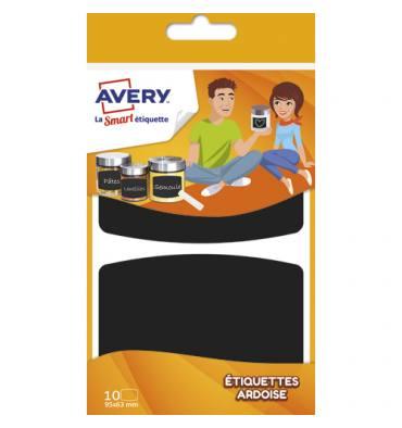 AVERY Sachet de 10 Etiquettes ardoises noires 95 x 63 mm, écrire à la craie ou un marqueur craie