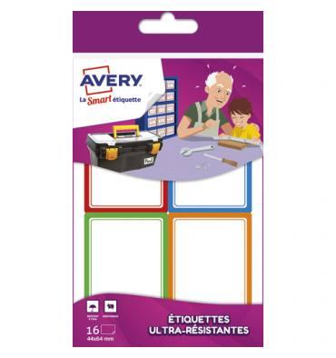AVERY Sachet de 16 Etiquettes Ultra-Résistantes 44 x 64 mm blanc avec bordure vert / bleu / orange / rouge