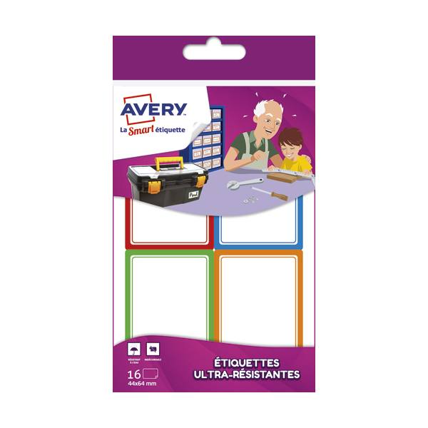 AVERY Sachet de 16 Etiquettes Ultra-Résistantes 44 x 64 mm blanc avec bordure vert / bleu / orange / rouge (photo)