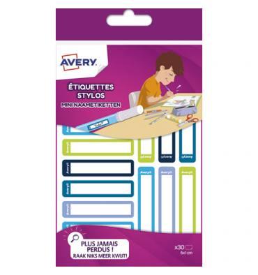 AVERY Blister de 30 Etiquettes Stylos 50 x 10 mm, coloris bleu / vert, écrire avec un feutre permanent