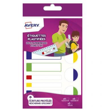 AVERY Sachet de 24 Etiquettes plastifiées blanc avec bordure vert / bleu / jaune / rouge, format assortis