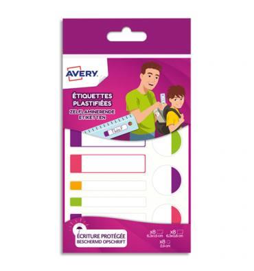 AVERY Boîte de 24 étiquettes plastifiées. 3 formats assortis. Coloris assortis fluorescents