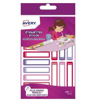 AVERY Blister de 30 Etiquettes Stylos 50 x 10 mm, coloris rose / rouge, écrire avec un feutre permanent