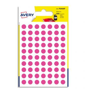 AVERY Sachet de 490 pastilles diamètre 8 mm. Ecriture manuelle. Coloris rose