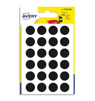 AVERY Sachet de 168 pastilles diamètre 15 mm. Ecriture manuelle. Coloris noir