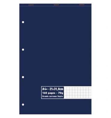 NEUTRE Bloc 70g agrafé en tête 160 pages perforées Séyès. Format A4+ 21 x 31,8 cm