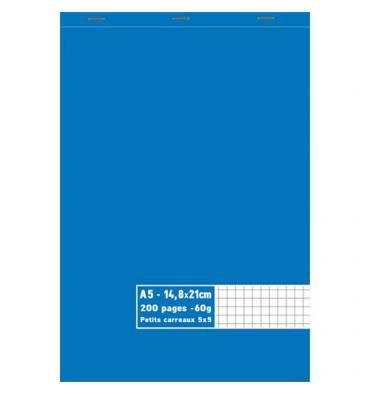 NEUTRE Bloc 60g agrafé en tête 200 pages quadrillées 5x5. Format A5 - 14,8 x 21 cm