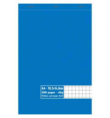NEUTRE Bloc 60g agrafé en tête 200 pages quadrillées 5x5. Format A6 10,5 x 14,8 cm