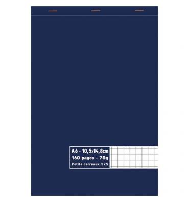 NEUTRE Bloc 70g agrafé en tête 160 pages 5x5. Format A6 - 10,5 x 14,8 cm