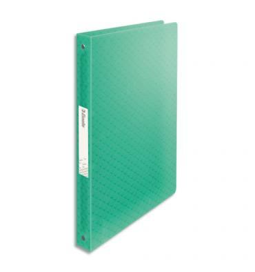 ESSELTE Classeur 4 anneaux ronds Colour Ice dos de 2,5 cm, en polypropylène 5/10ème. Coloris vert