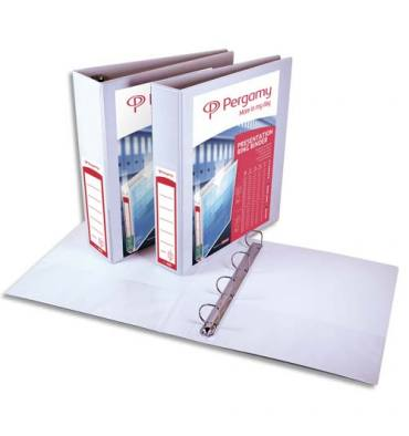 PERGAMY Classeur personnalisable A4+ 2 faces, 4 anneaux Ø 20 mm en D, dos 3,8 cm. En polypropylène blanc. Capacité 150 feuilles
