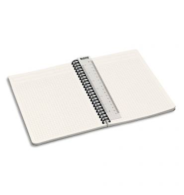 LEITZ Cahier OFFICE spirales 180 pages 90g A5 5x5. Couverture carte gris décor assortis