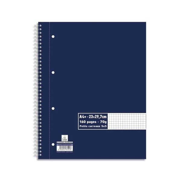 5 ETOILES Cahiers spiralés 160 pages 70g 5x5 A4+. Feuille détachable perforée. Couverture papier (photo)