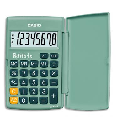 """CASIO Calculatrice Primaire """"Petite FX"""" à 8 chiffres avec clapet de protection, coloris vert"""