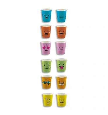 HUHTAMAKI Sachet de 100 Gobelets 15 cl assortis Emoticônes, carton épais boissons chaudes H7,01 x D8 cm