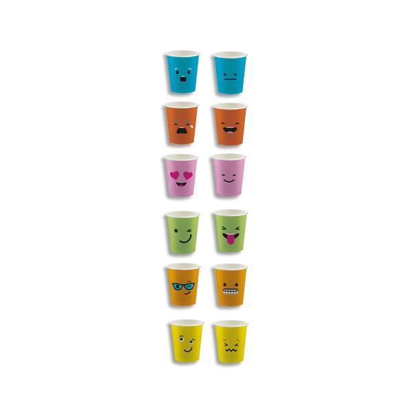 HUHTAMAKI Sachet de 100 Gobelets 15 cl assortis Emoticônes, carton épais boissons chaudes H7,01 x D8 cm (photo)