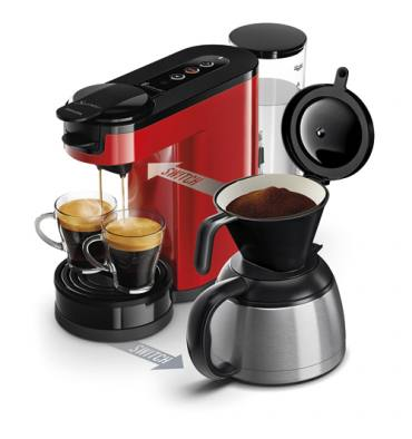 SENSEO Machine à café Switch Rouge + verseuse isotherme, 1450W, capacité 1L, 7 tasses, L15 x H27 x P40 cm