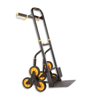SAFETOOL Diable en tube d'acier noir jaune, 200kg, bavette L35 x P28 cm, L65,3 x H115 x P52,5 cm