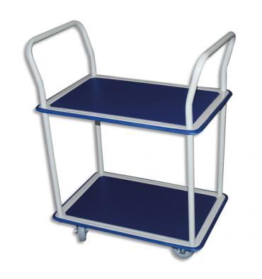 SAFETOOL Chariot double plateau bleu en acier blanc, antidérapant, mobile - Plateau 72,5 x 46,5 cm