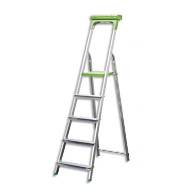 SAFETOOL Escabeau 5 marches, structure aluminium avec porte-outils vert - L94,5 x H174 x P45 cm